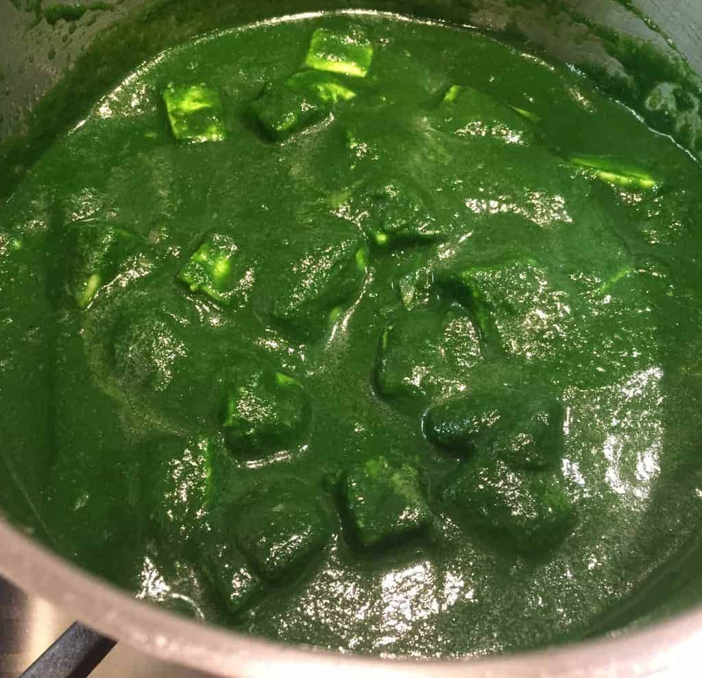 Palak Paneer in a stainless steel pot