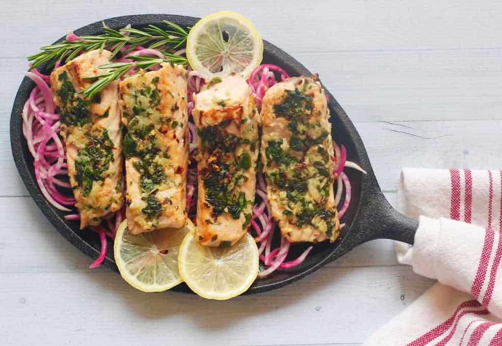 methi garlic salmon