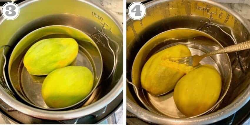 mangoes being pressure cooked