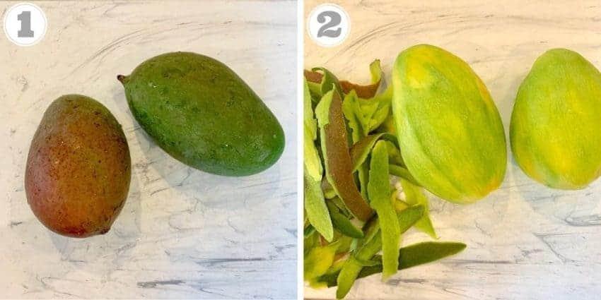 steps showing peeling raw green mango