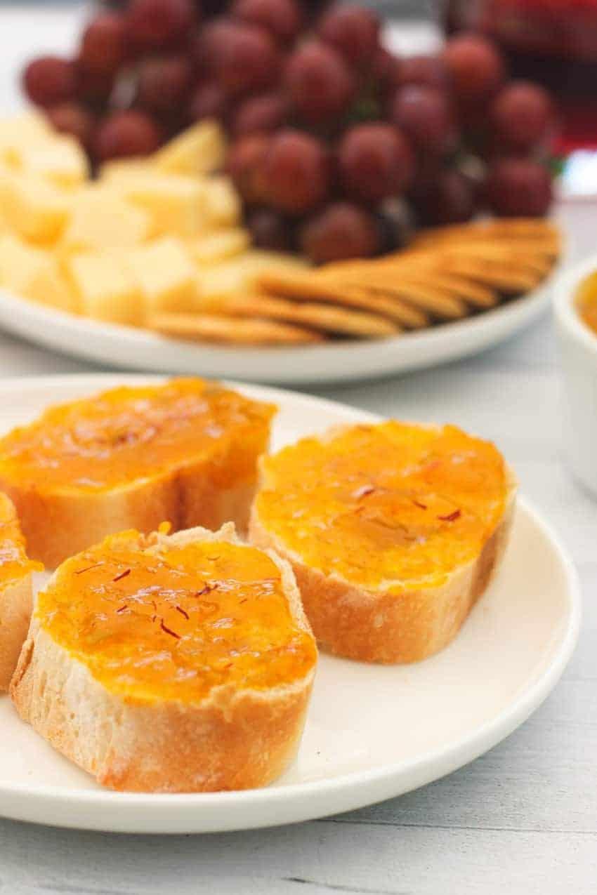 mango jam served on baguette