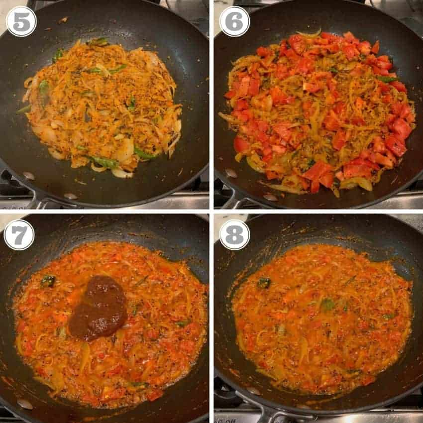Steps showing sauteed onions mixed with tomatoes, tamarind paste and spices