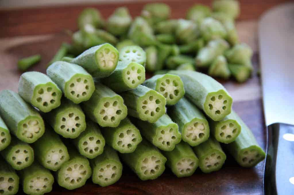 Okra with tops cut