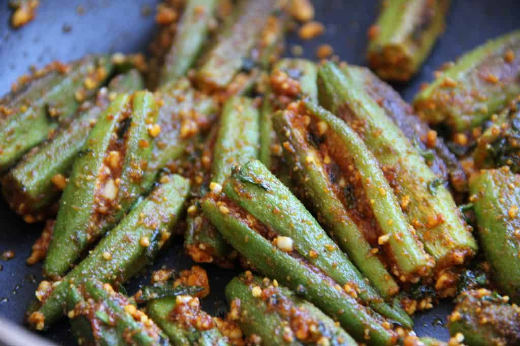 cooked stuffed okra in a pan