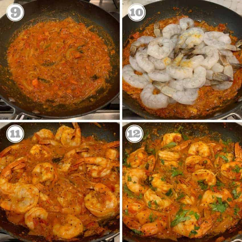 finalsteps showing adding shrimp to the sauce and cooking
