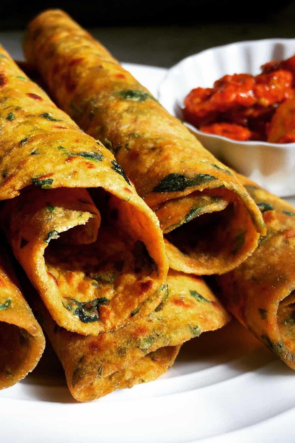 Methi/fenugreek-sweet potato Paratha {flatbreads} #minitryofcurry