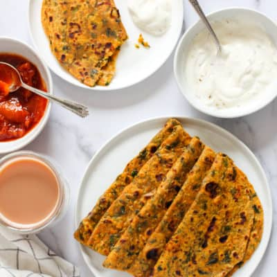 Methi/fenugreek-sweet potato Thepla {flatbreads}