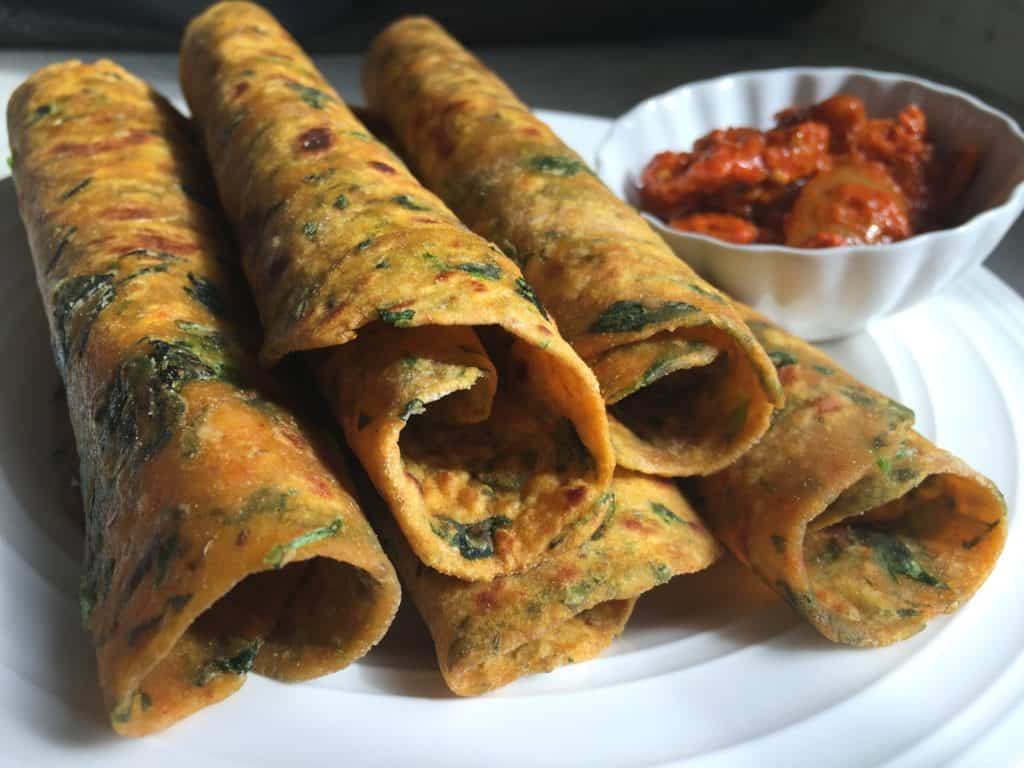 Rolled Methi Thepla with Pickle