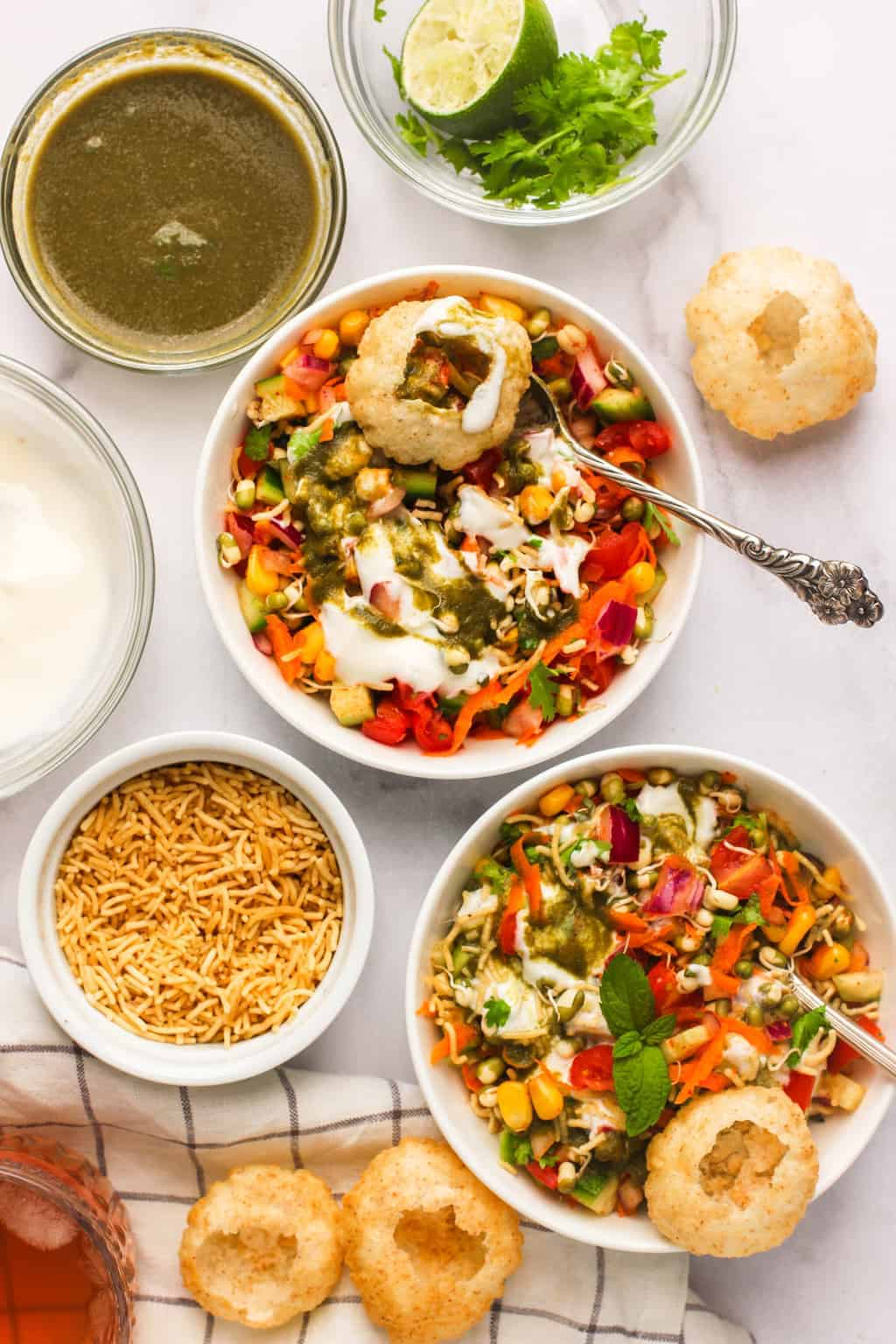 Mung Bean Salad in bowls with toppings