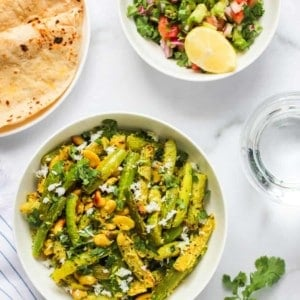 Tindora Sabzi served with Rotis and cucumber salad