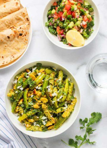 Tindora Sabzi served with Rotis and cucumber salad