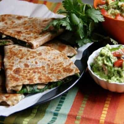 Crispy Spinach, Mushroom and Onion Quesadillas