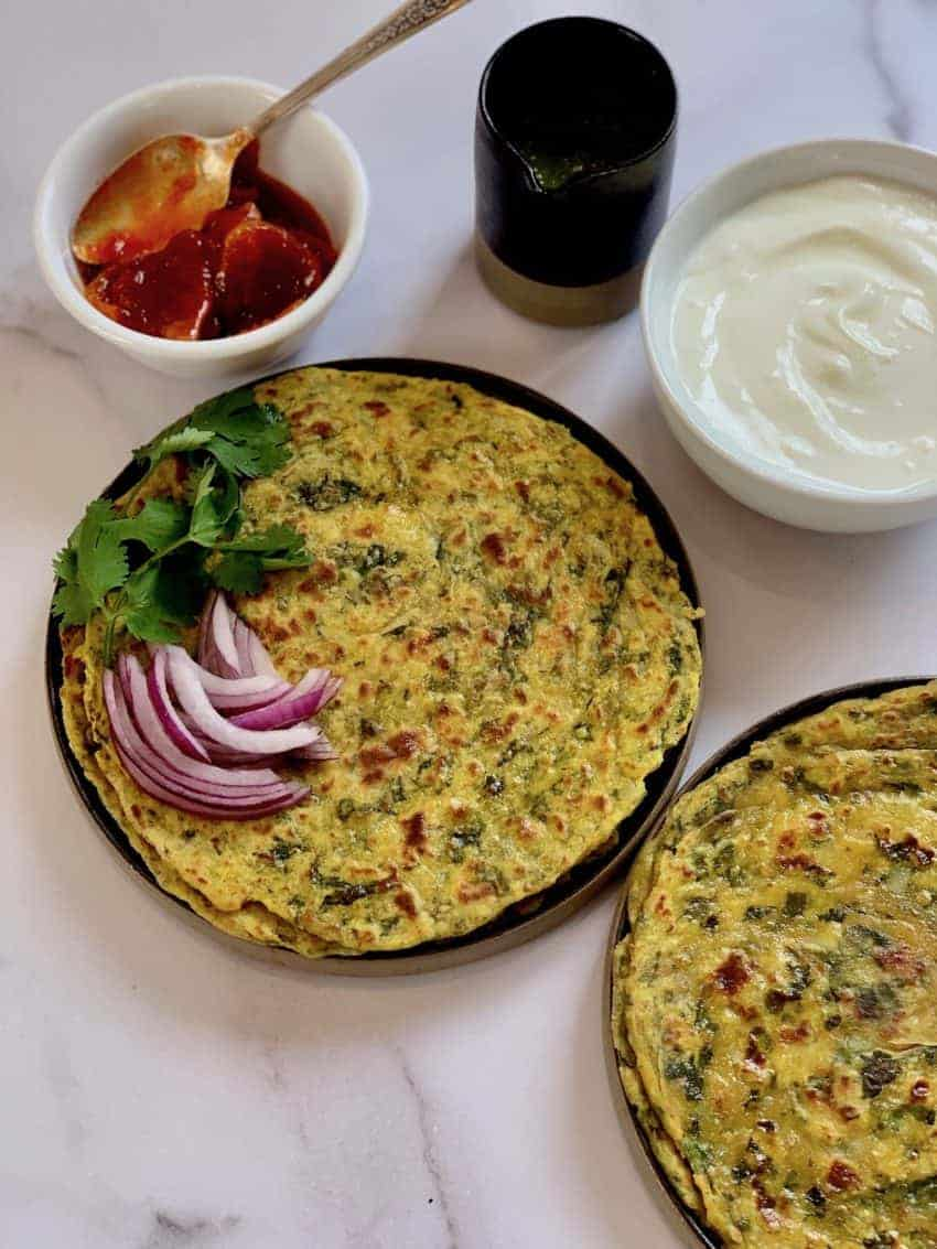 Kale Potato Parathas served woth yogurt and lemon pickle