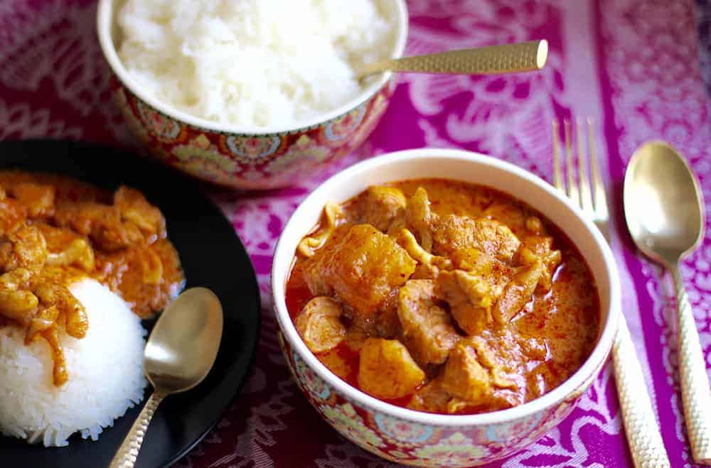 Thai Massaman Curry served with white rice