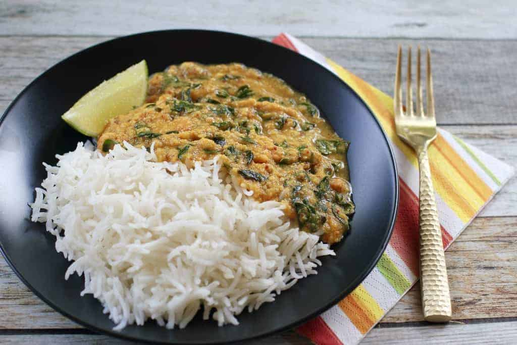 Lentils with drumstick Leaves and rice