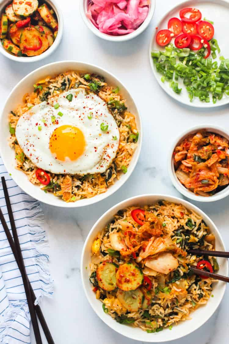 Kimchi fried rice served with sunny side egg