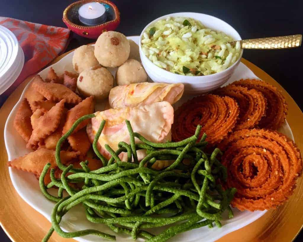 diwali celebrations - Platter with Diwali Snacks
