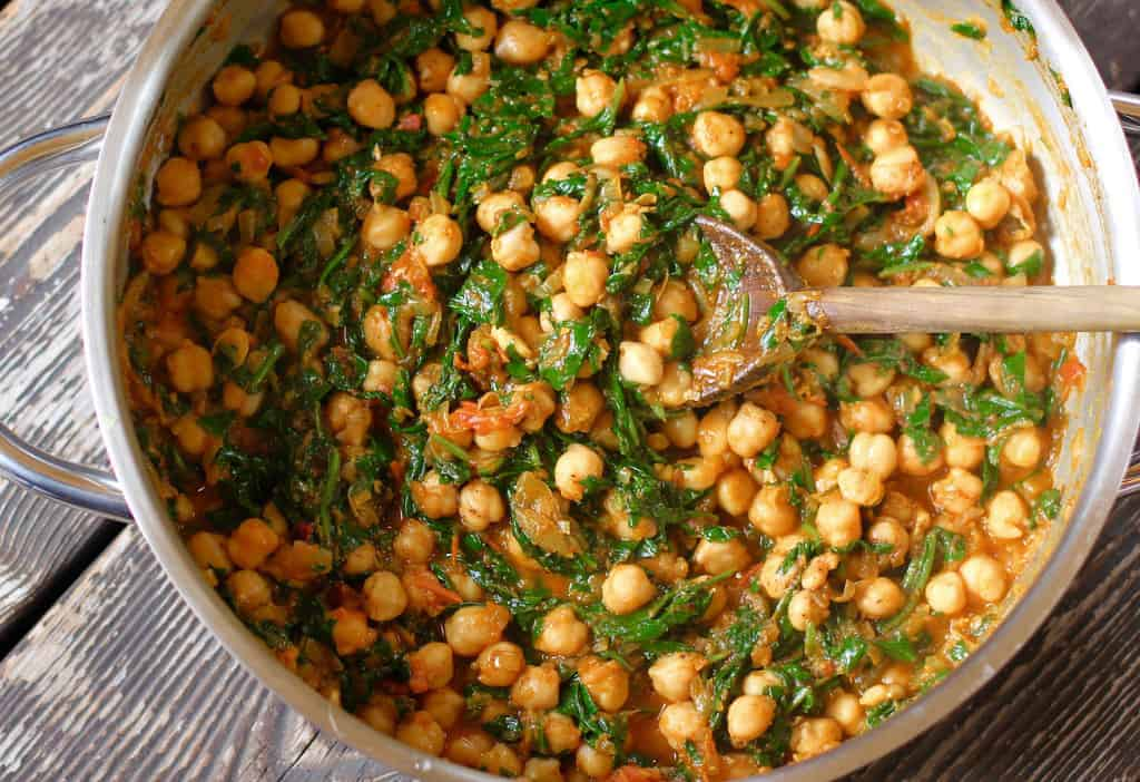 chana saag in a pot