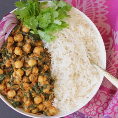 Chana Saag {chickpeas and spinach spiced with garam masala}