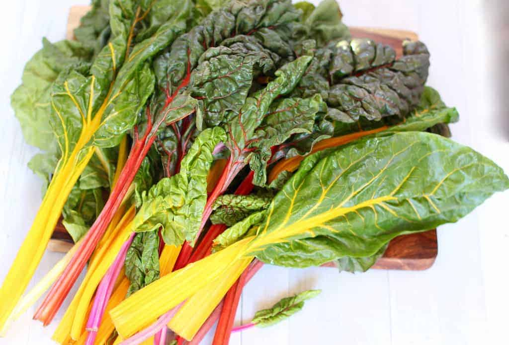 Mix colored Swiss Chard Leaves
