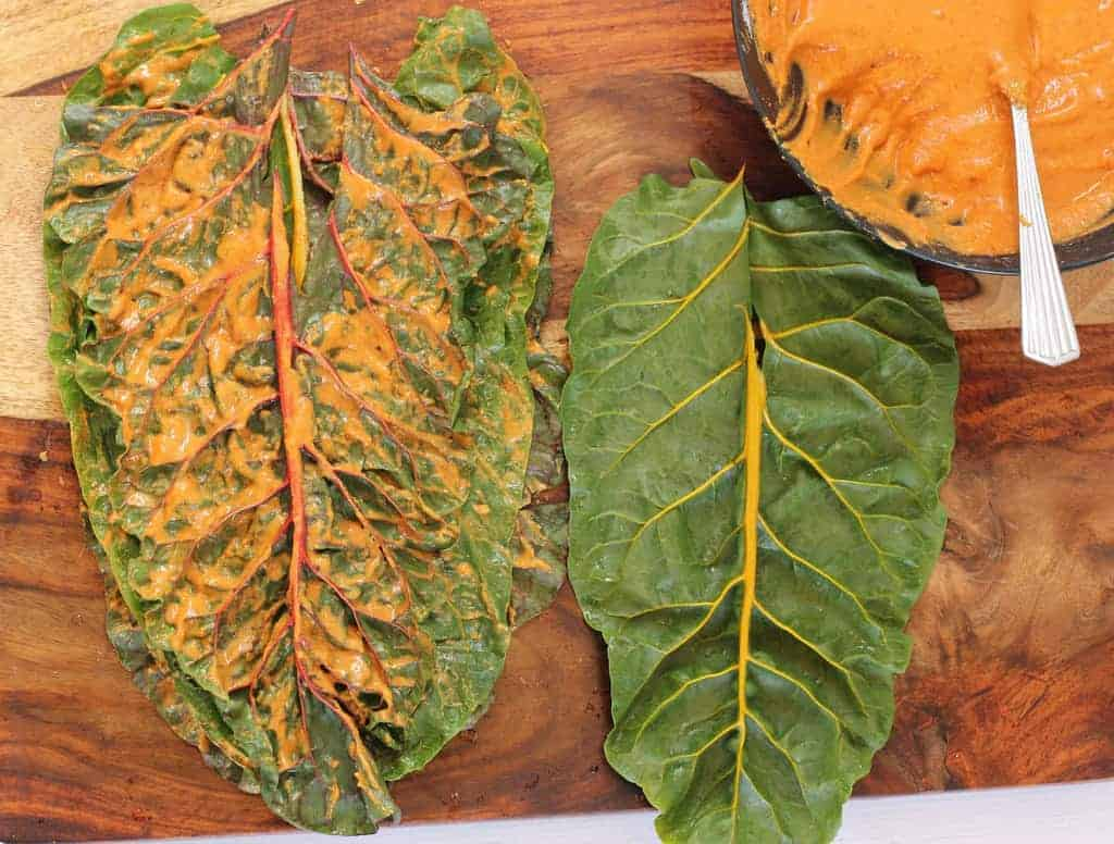 Swiss Chard leaves with chickpea flour paste spread over