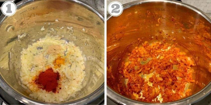 steps showing sautéing onions & spices