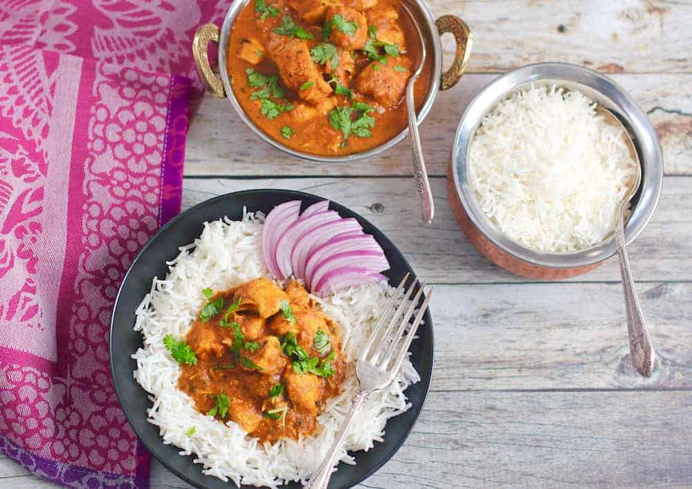 instant pot butter chicken served with basmati rice