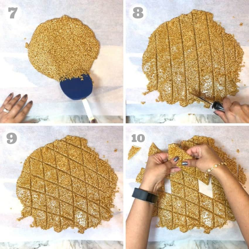 process shots showing how to cut sesame chikki