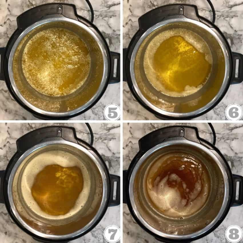 steps showing how to cook ghee in the Instant Pot