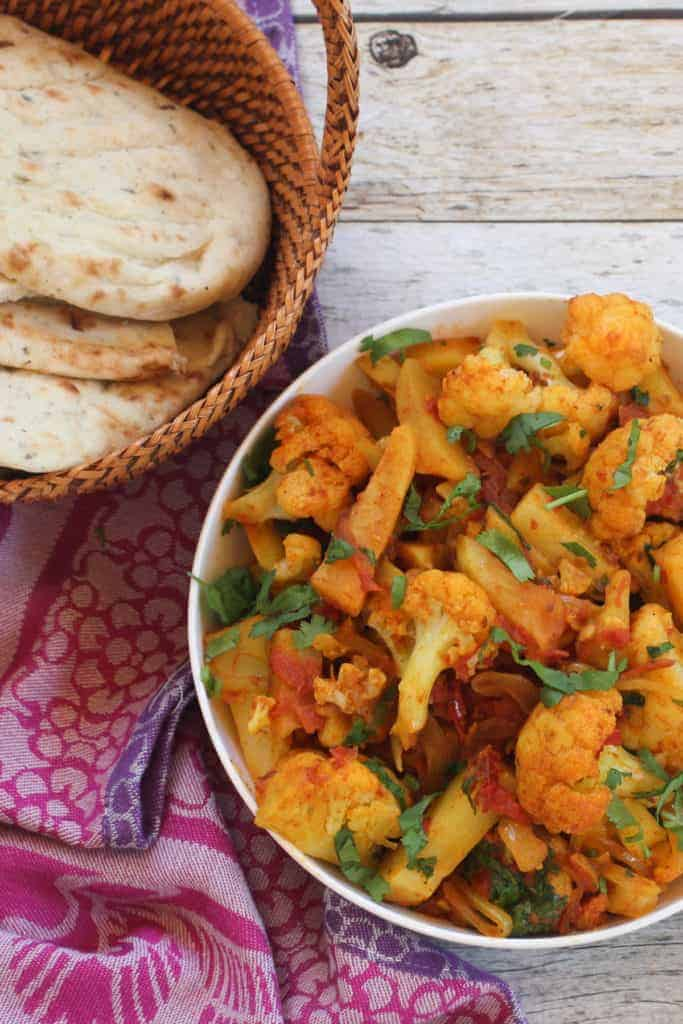 Aloo Gobi served with naan