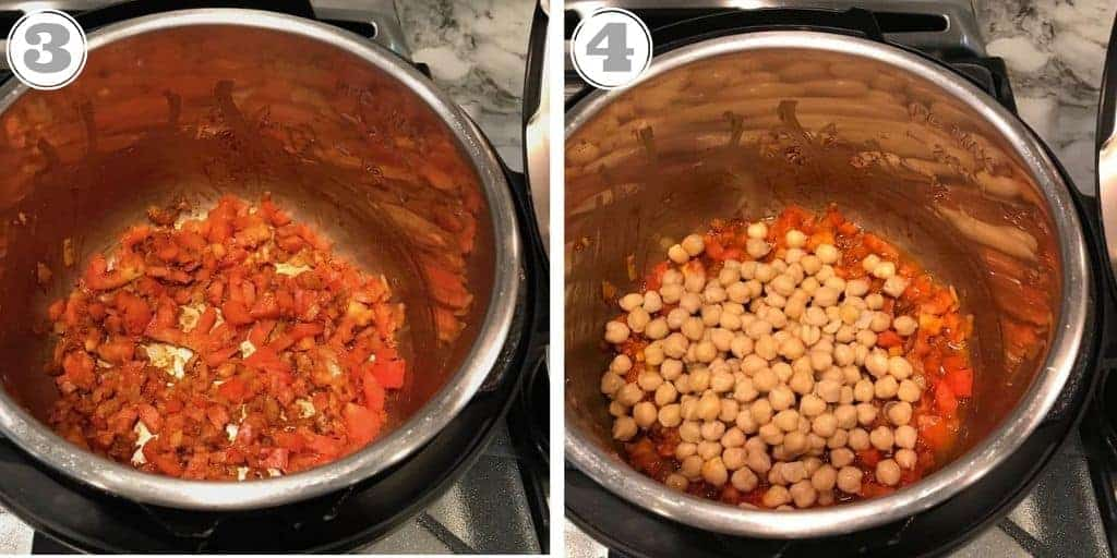 steps three and four adding chick peas to instant pot