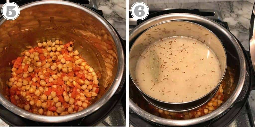 steps five and six adding pot in pot rice to instant pot