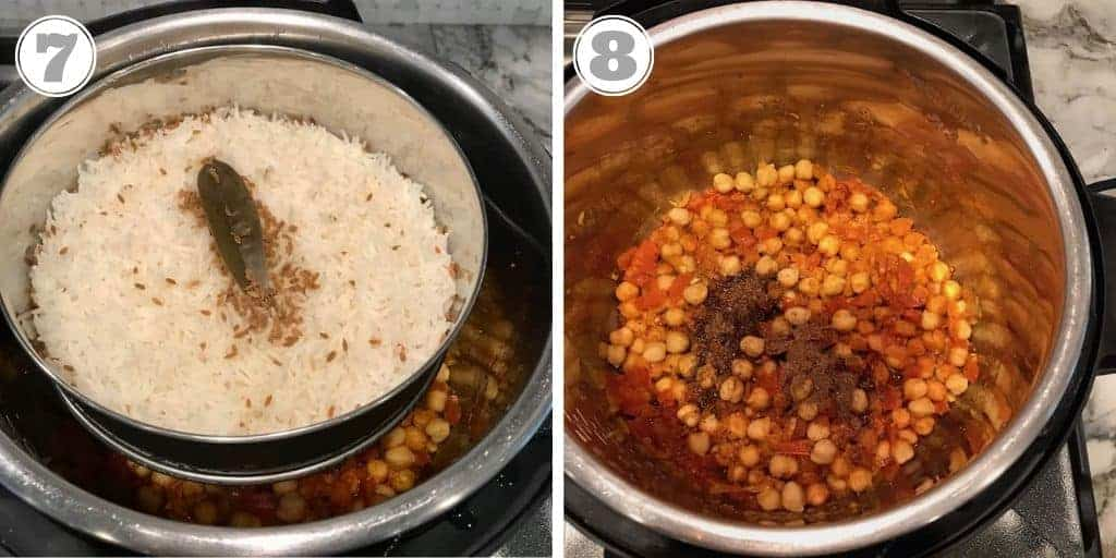 steps seven and eight showing cooked rice and chana saag