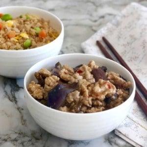eggplant & chicken in garlic sauce
