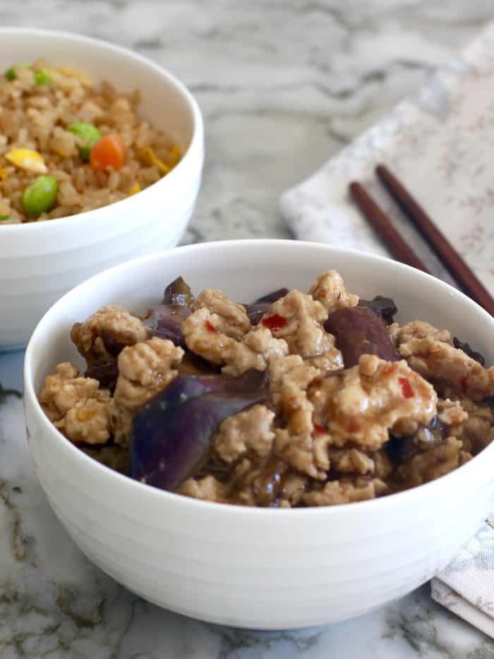 Eggplant & Chicken in Garlic Sauce – Instant Pot