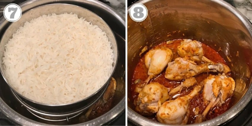 pot in pot rice with chicken curry