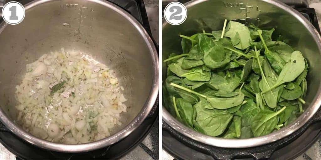 steps one and two to make palak paneer in the Instant Pot