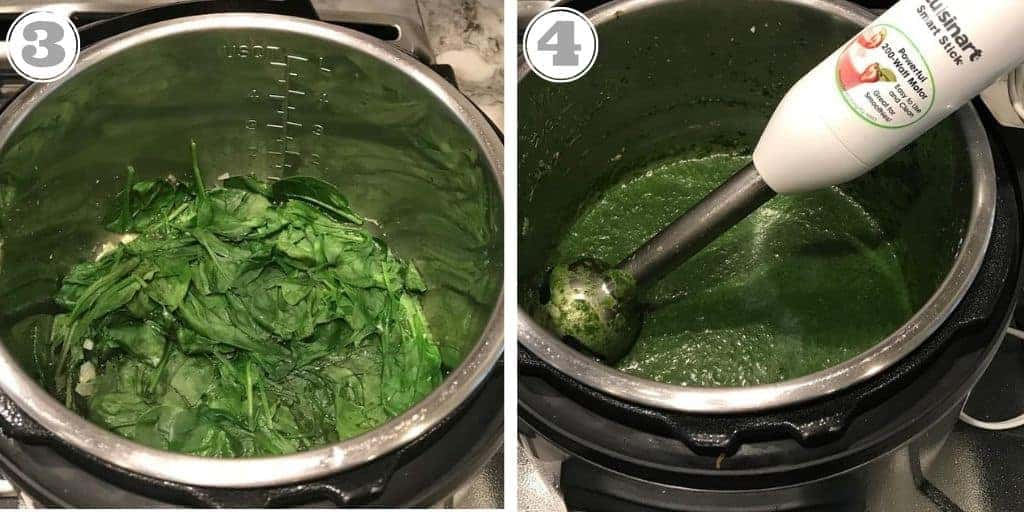 steps three and four to make palak paneer in the Instant Pot