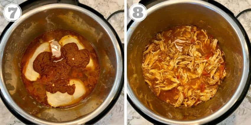 cooked chicken tinga in the Instant Pot