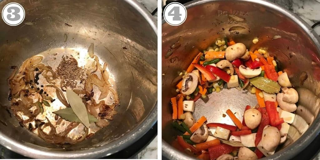 steps showing adding spices and vegetables to Instant Pot