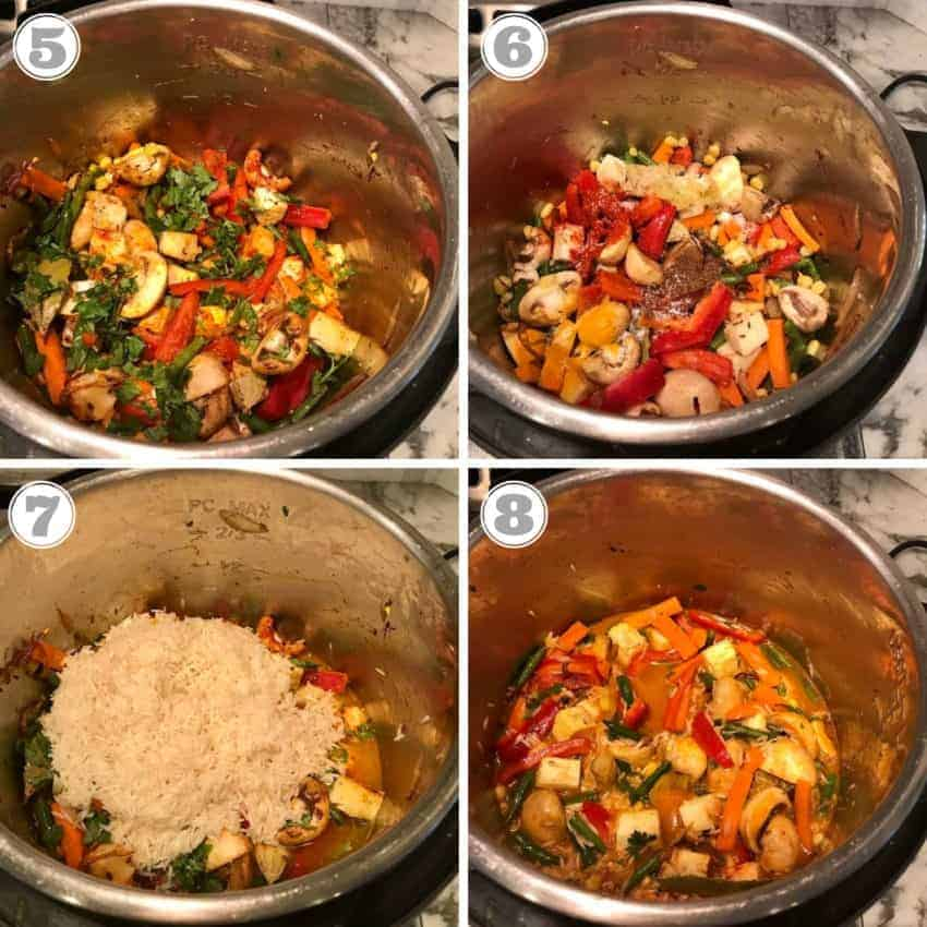 steps showing adding rice and water to veggies in Instant Pot