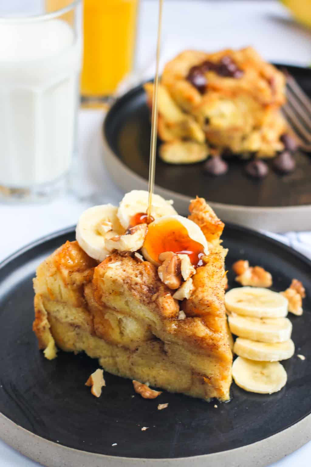 french toast bread pudding with bananas and maple syrup