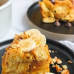 french toast bread pudding with bananas and walnuts
