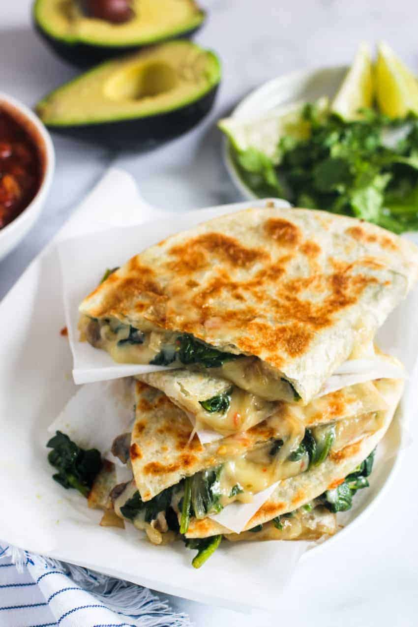 stack of spinach and mushroom quesadillas