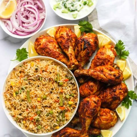Tandoori Chicken served with vegetable pulao
