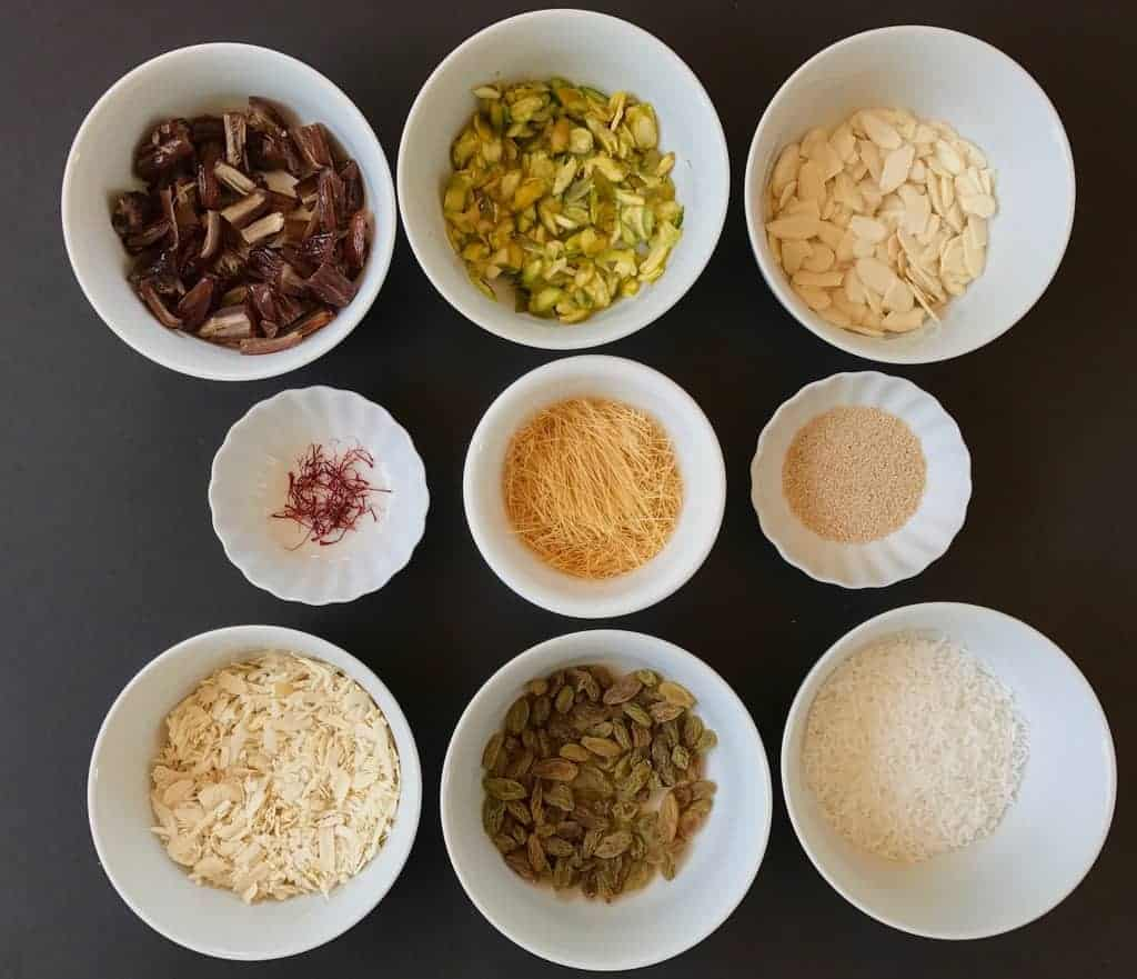 sheer khurma ingredients in bowls