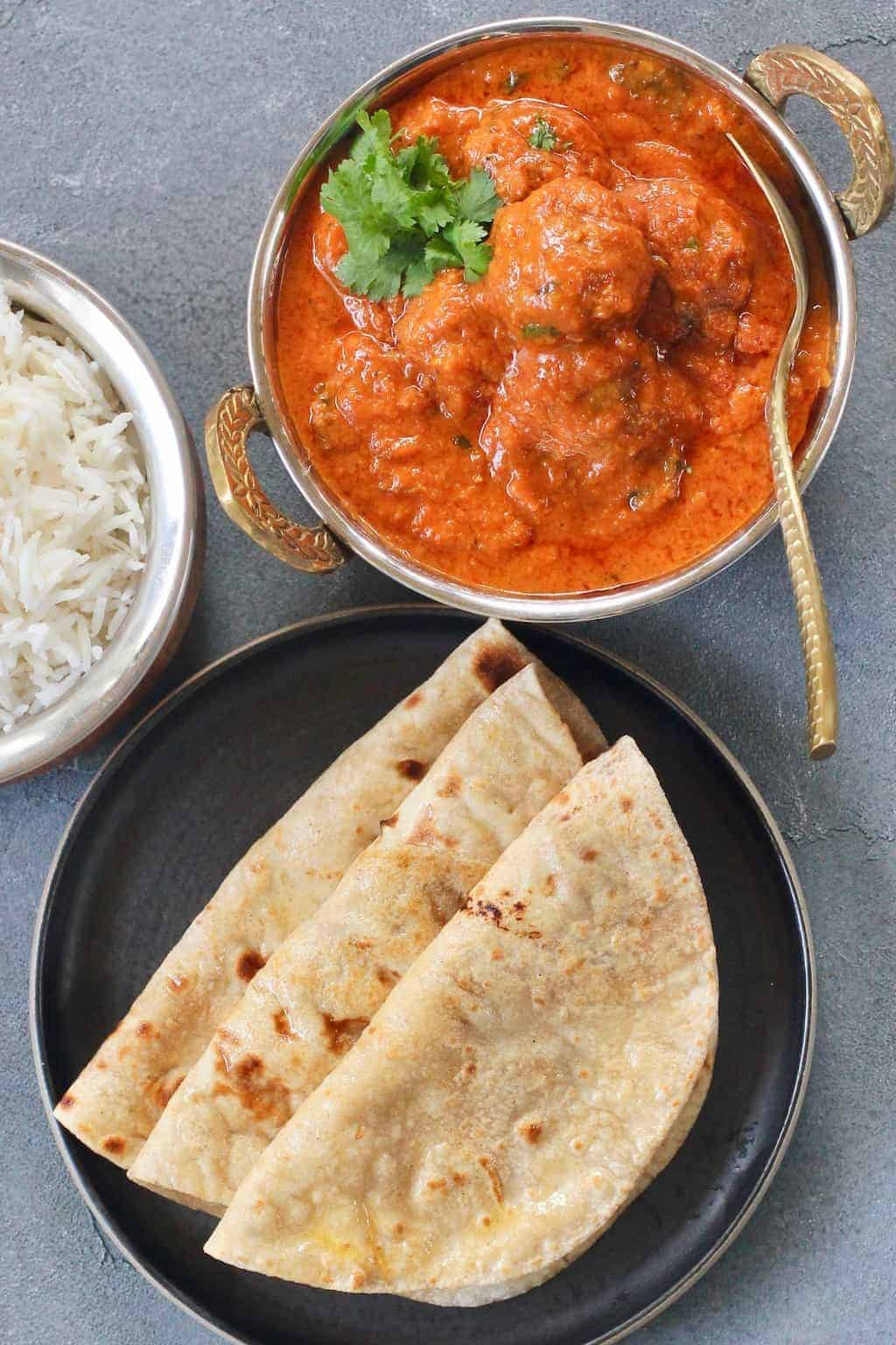 Malai Kofta served with rice and rotis