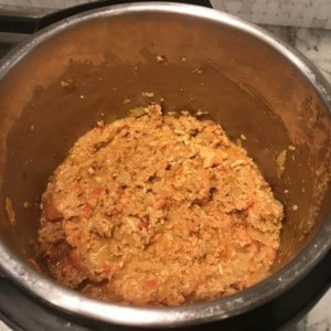 Instant Pot with all the ingredients for Kheema added in and ready to be pressure cooked