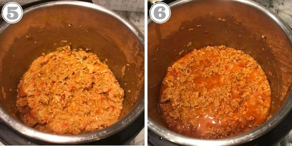 steps showing adding ground chicken and water to Instant Pot