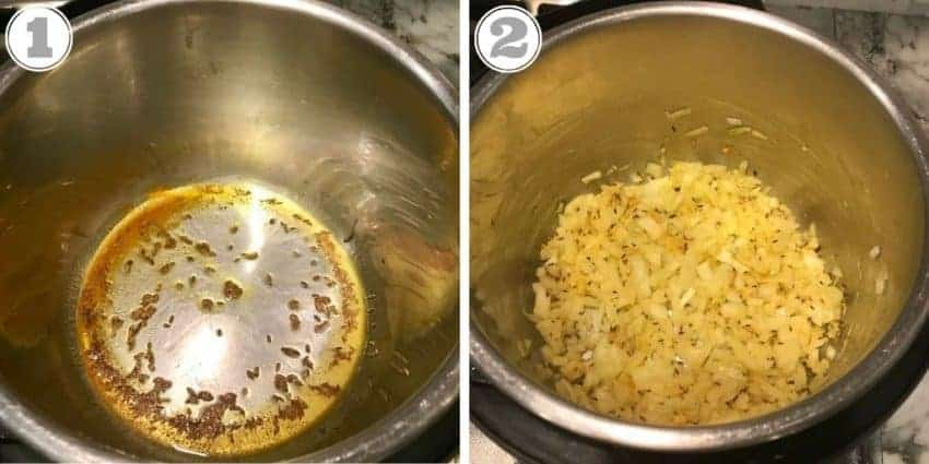 steps showing toasting cumin seeds and sauteeing ginger, garlic, onions in Instant Pot